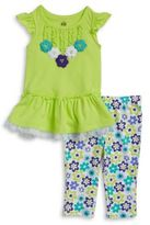 Kids Headquarters Little Girls Floral and Tulle Tunic and Leggings Set