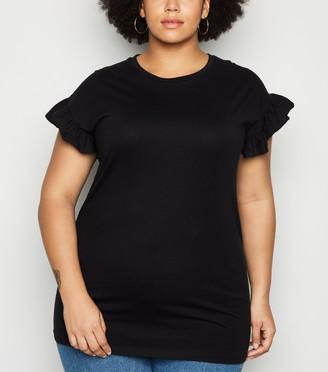 New Look Curves Frill Sleeve Long T-Shirt