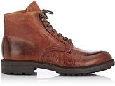 Barneys New York MEN'S BURNISHED LACE-UP BOOTS-BROWN SIZE 7 M