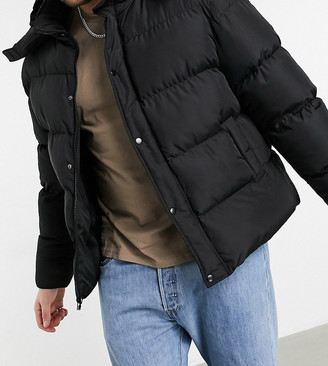 ASOS DESIGN Plus sustainable puffer jacket with detachable hood in black