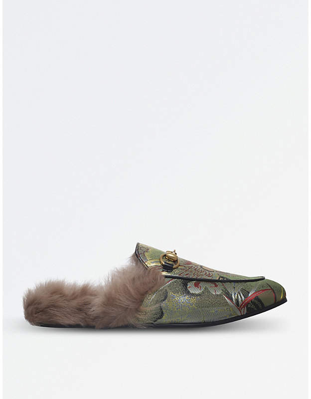 Gucci Princetown dragon jacquard and shearling slippers