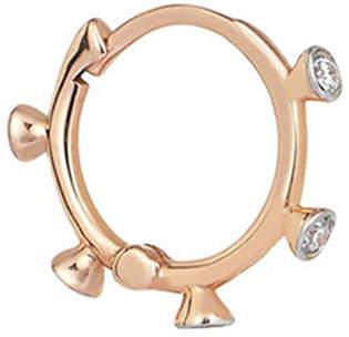 Kismet by Milka 14k Rose Gold 5-Diamond Hoop Earring (Single)