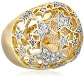 Chamak by Priya Kakkar Sterling Silver and Cubic Zirconia Gold-Tone Cutout Star Ring, Size 7