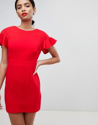 Asos Design DESIGN Mini Wiggle Dress With Fluted Sleeve