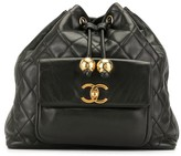 Chanel Pre Owned 1990s diamond quilted drawstring backpack