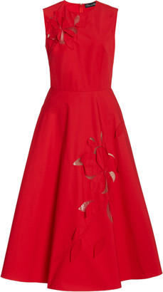 Oscar de la Renta Laser-Cut Cotton Midi Dress