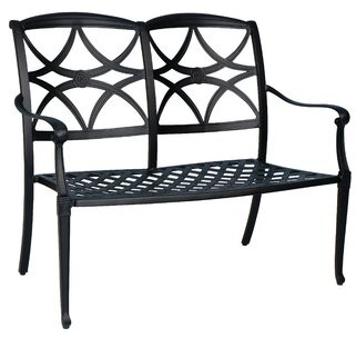 """Woodard Wiltshire Aluminum Garden Bench Woodard Cushion Color: Whisper Smoke, Frame Color: Weathered White, Seat Height: 20"""""""