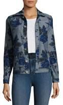 J Brand Reversible Floral-Print Oversized Denim Jacket
