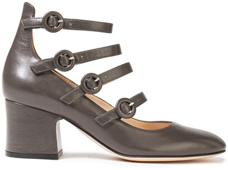Gianvito Rossi Dora Buckled Leather Mary Jane Pumps