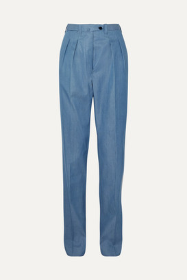 Giuliva Heritage Collection Husband Cotton-chambray Straight-leg Pants - Blue