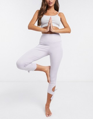 South Beach Yoga leggings with tie detail in lilac