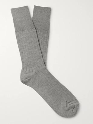 Mr P. Ribbed Melange Cotton-Blend Socks
