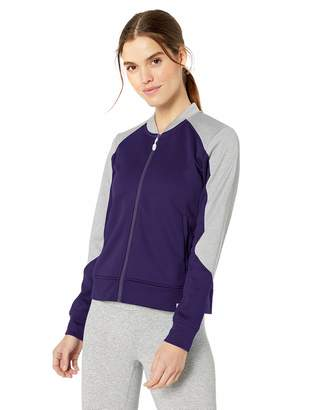 Fly London Cbuk CBUK Women's Pop Colorblock Heathered Fleece Full Zip Bomber Jacket