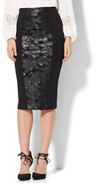 New York & Co. 7th Avenue Design Studio - Faux Leather-Cutout Panel Knit Skirt