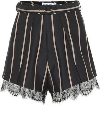 Self-Portrait High-rise striped shorts