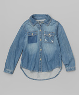 E-Land Kids Blue Chambray Denim Button-Up - Girls