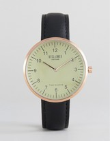 Reclaimed Vintage Dome Leather Watch In Black