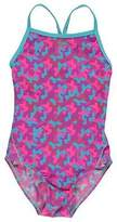 Slazenger Kids Bound Back Swimming Costume Junior Girls Pattern Spaghetti Straps
