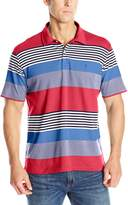 Izod Men's Short Sleeve Chatham Clique Auto Stripe Jersey Polo