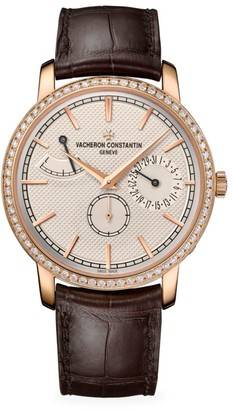 Vacheron Constantin Traditionnelle 18K 5N Rose Gold, Diamond & Alligator Strap Day Display Watch