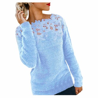 TOPEREUR Women Ladies Stitched Lace Jumpers Long Sleeves Off The Shoulder Sweater Flully Patchwork Solid Color Pullover Top Blouse Blue