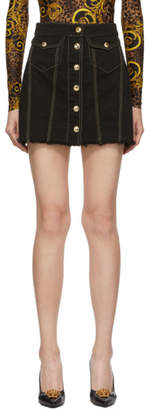 Versace Black Denim Contrast Stitching Miniskirt