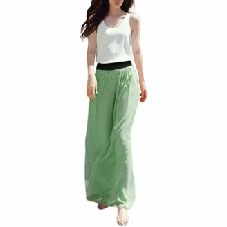 AOGOTO Women Casual Plain Stretch Maxi Skirt High Waist Flared Long Skirt Green Green