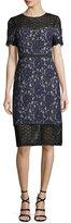 Club Monaco Aknar Crewneck Short-Sleeve Lace Dress w/ Guipure