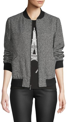 Karl Lagerfeld Paris Textured Baseball-Collar Jacket