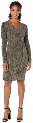 Calvin Klein Glitter Faux Wrap Dress with Side Tab (Black/Gold) Women's Dress