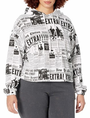 Forever 21 Women's Plus Size Newspaper Print Hoodie