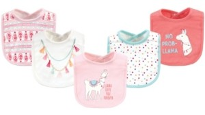 Little Treasure Cotton Drooler Bibs, 5 Pack, Llama