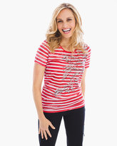 Chico's Foiled Tie-Dye Stripe Tee