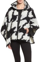 French Connection Women's Zip Front Houndstooth Wool Blend Poncho