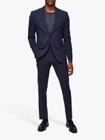 Selected Check Slim Fit Suit Jacket, Navy