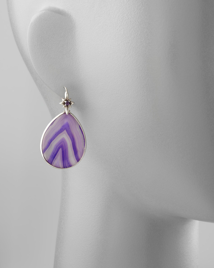 Stephen Dweck Purple Agate Teardrop Earrings