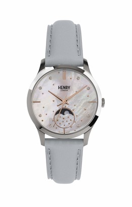 Henry London Unisex Adult Moon Phase Quartz Watch with Leather Strap HL35-LS-0327