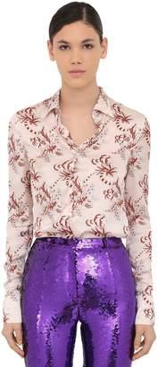 Paco Rabanne Printed Satin Shirt W/ Crystals