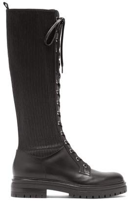 Gianvito Rossi Knee-high Lace-up Leather Boots - Womens - Black