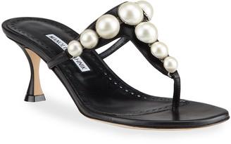 Manolo Blahnik Perlosa Pearly Stud Kitten-Heel Sandals