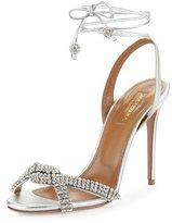 Aquazzura Dazzling Crystal Ankle-Wrap 105mm Sandal, Silver