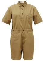 Chimala Short-sleeved Cotton Playsuit - Womens - Beige