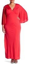 ABS by Allen Schwartz Capelet Jersey Gown (Plus Size)