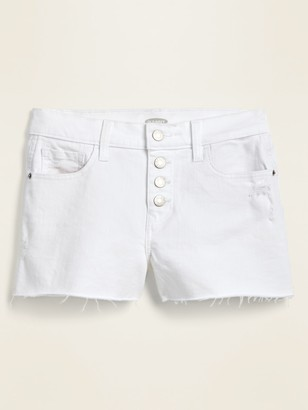 Old Navy Mid-Rise Button-Fly Boyfriend White Cut-Off Jean Shorts for Women -- 3-inch inseam.