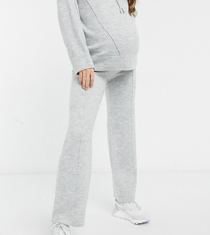 ASOS DESIGN Maternity co-ord knitted wide leg trouser in grey marl