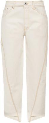 Lanvin Asymmetric Herringbone Cotton Straight-leg Pants