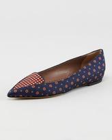Tabitha Simmons Alexa Pointed-Toe Tie Silk Flat