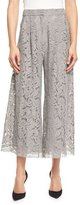 ADAM by Adam Lippes Pleated Guipure-Lace Culotte Pants, Nickel