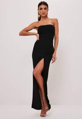 Missguided Black Bandeau Side Split Maxi Dress