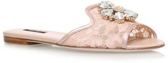 Dolce & Gabbana Lace Embellished Bianca Slides